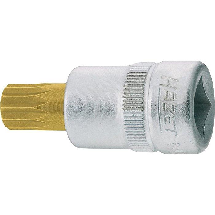 HAZET Schraubendreher-Steckschlüsseleinsatz - Vierkant hohl 10 mm (3/8 Zoll) - Innen Vielzahn Profil XZN - M10 mm