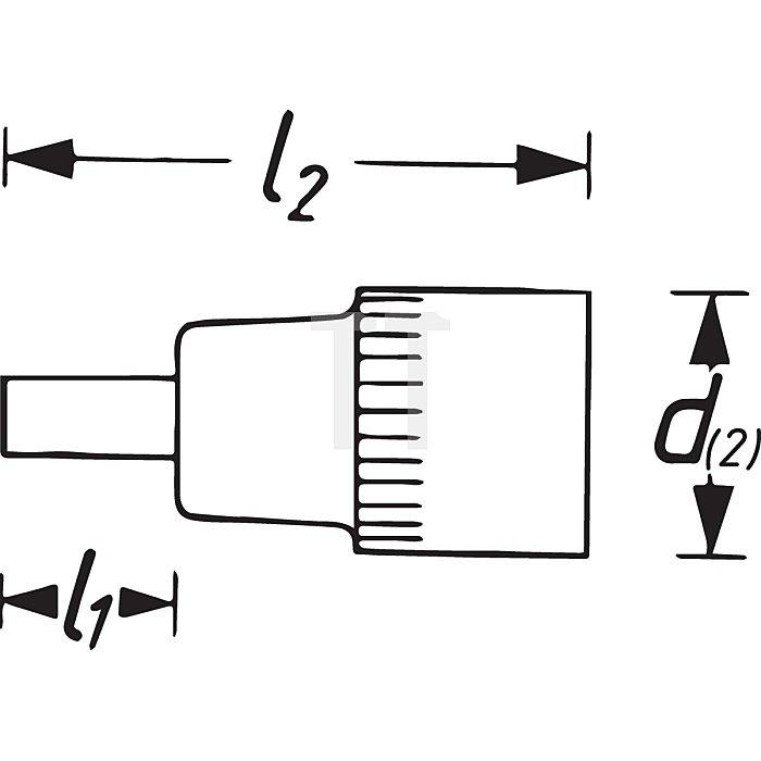 HAZET Schraubendreher-Steckschlüsseleinsatz - Vierkant hohl 10 mm (3/8 Zoll) - Schlitz Profil - 1.2 x 8 mm
