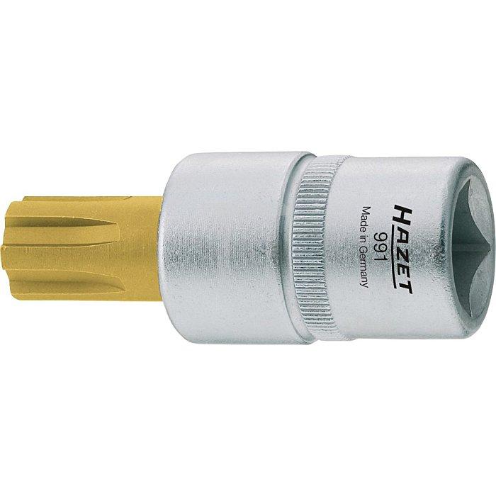HAZET Schraubendreher-Steckschlüsseleinsatz - Vierkant hohl 12,5 mm (1/2 Zoll) - Innen Keilprofil Ribe-CV - M12 mm