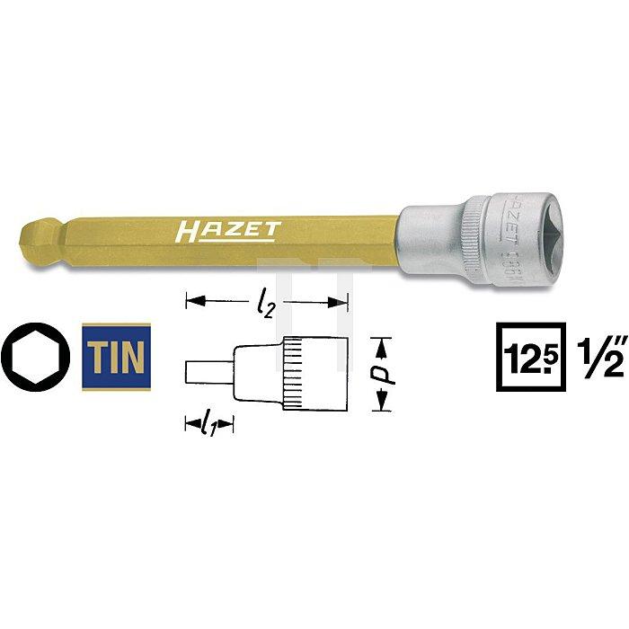 HAZET Schraubendreher-Steckschlüsseleinsatz - Vierkant hohl 12,5 mm (1/2 Zoll) - Innen-Sechskant Profil - 10 mm