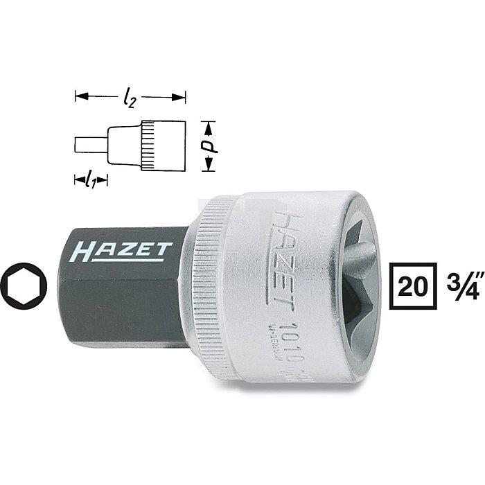 HAZET Schraubendreher-Steckschlüsseleinsatz - Vierkant hohl 20 mm (3/4 Zoll) - Innen-Sechskant Profil - 19 mm