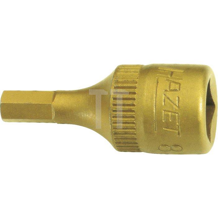 HAZET Schraubendreher-Steckschlüsseleinsatz - Vierkant hohl 6,3 mm (1/4 Zoll) - Innen-Sechskant Profil - 4 mm