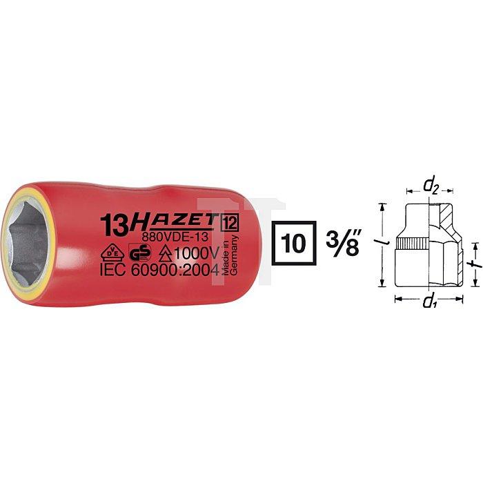 HAZET Steckschlüssel-Einsatz (6kt.) - Vierkant hohl 10 mm (3/8 Zoll) - Außen-Sechskant-Tractionsprofil - 16 mm