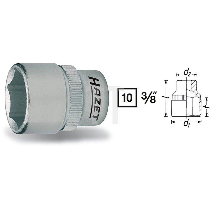 HAZET Steckschlüssel-Einsatz (6kt.) - Vierkant hohl 10 mm (3/8 Zoll) - Außen-Sechskant-Tractionsprofil - 22 mm