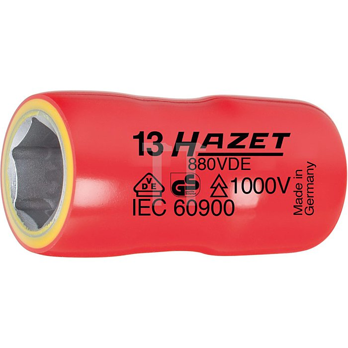 HAZET Steckschlüssel-Einsatz (6kt.) - Vierkant hohl 10 mm (3/8 Zoll) - Außen-Sechskant-Tractionsprofil - 8 mm