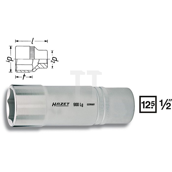 HAZET Steckschlüssel-Einsatz (6kt.) - Vierkant hohl 12,5 mm (1/2 Zoll) - Außen-Sechskant-Tractionsprofil - 15 mm