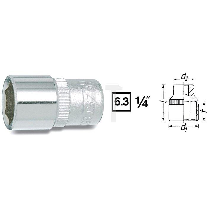 HAZET Steckschlüssel-Einsatz (6kt.) - Vierkant hohl 6,3 mm (1/4 Zoll) - Außen-Sechskant-Tractionsprofil - 7/16 mm