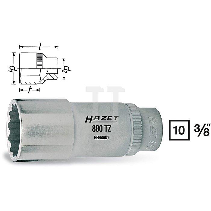 HAZET Steckschlüssel-Einsatz (Doppel-6kt.) - Vierkant hohl 10 mm (3/8 Zoll) - Außen-Doppel-Sechskant-Tractionsprofil - 19 mm