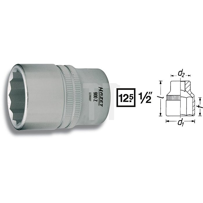 HAZET Steckschlüssel-Einsatz (Doppel-6kt.) - Vierkant hohl 12,5 mm (1/2 Zoll) - Außen-Doppel-Sechskant-Tractionsprofil - 10 mm