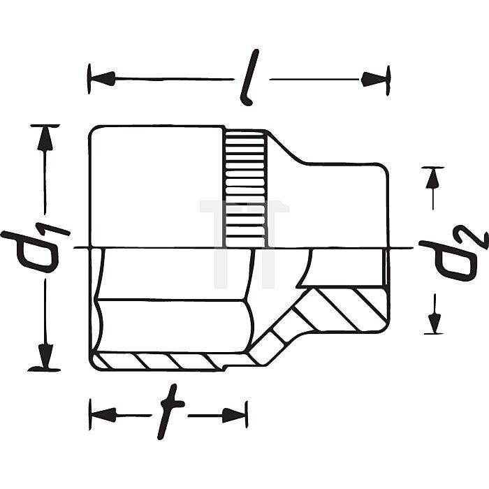 HAZET Steckschlüssel-Einsatz (Doppel-6kt.) - Vierkant hohl 12,5 mm (1/2 Zoll) - Außen-Doppel-Sechskant-Tractionsprofil - 16 mm