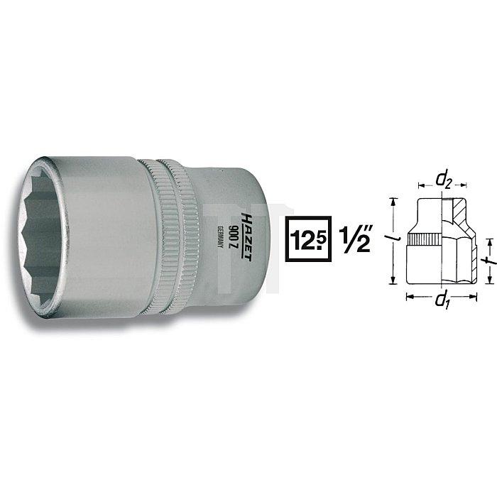 HAZET Steckschlüssel-Einsatz (Doppel-6kt.) - Vierkant hohl 12,5 mm (1/2 Zoll) - Außen-Doppel-Sechskant-Tractionsprofil - 19/32 mm