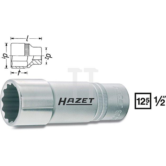 HAZET Steckschlüssel-Einsatz (Doppel-6kt.) - Vierkant hohl 12,5 mm (1/2 Zoll) - Außen-Doppel-Sechskant-Tractionsprofil - 30 mm