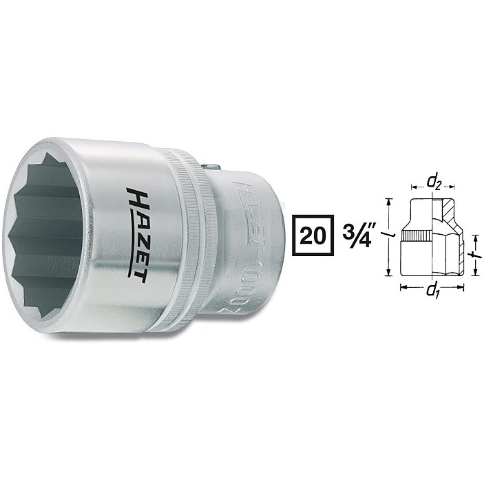 HAZET Steckschlüssel-Einsatz (Doppel-6kt.) - Vierkant hohl 20 mm (3/4 Zoll) - Außen-Doppel-Sechskant Profil - 35 mm
