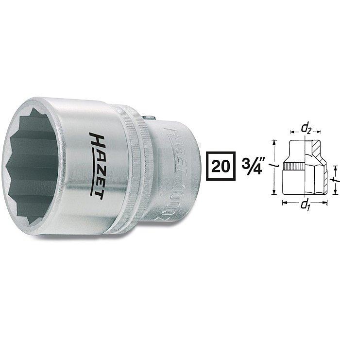 HAZET Steckschlüssel-Einsatz (Doppel-6kt.) - Vierkant hohl 20 mm (3/4 Zoll) - Außen-Doppel-Sechskant Profil - 50 mm
