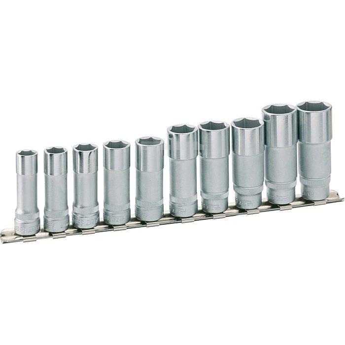 HAZET Steckschlüssel-Satz (6kt.) - Vierkant hohl 10 mm (3/8 Zoll) - Außen-Sechskant-Tractionsprofil - Anzahl Werkzeuge: 10