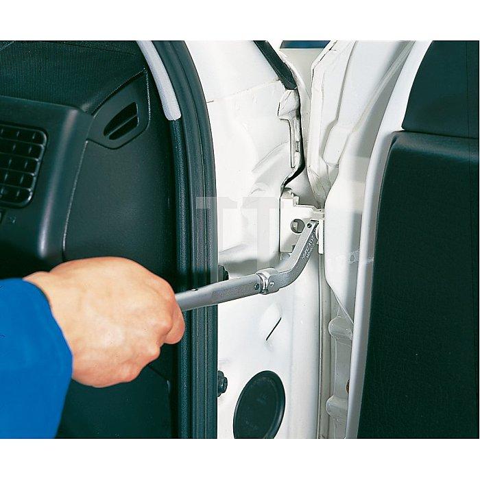 HAZET Türscharnier-Einsteck-Werkzeug, gebogener Bithalter - Einsteck-Vierkant 9 x 12 mm - Sechskant hohl 8 mm (5/16 Zoll), Innen TORX® Profil - T45 mm