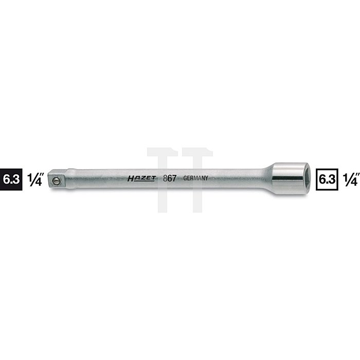 HAZET Verlängerung - Vierkant hohl 6,3 mm (1/4 Zoll) - Vierkant massiv 6,3 mm (1/4 Zoll)