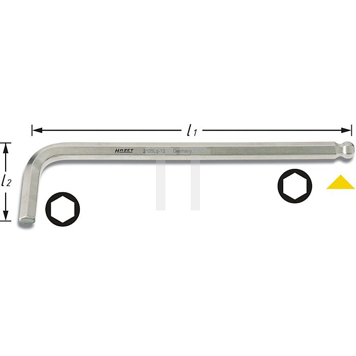 HAZET Winkelschraubendreher - Innen-Sechskant Profil - 12 mm