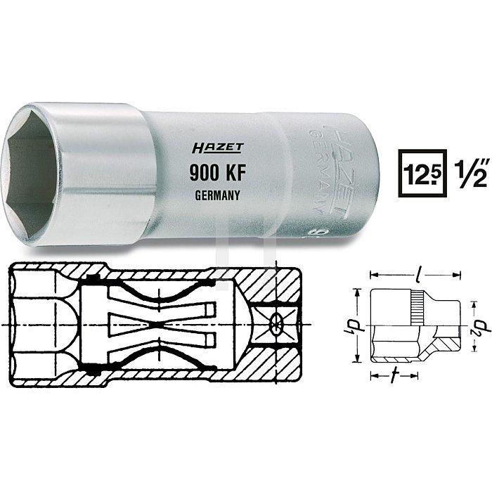 HAZET Zündkerzen-Steckschlüssel-Einsatz - Vierkant hohl 12,5 mm (1/2 Zoll) - Außen-Sechskant Profil - 16 5/8 mm