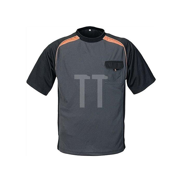 Herren-T-Shirt Gr.L dunkelgrau/schwarz/orange 50%PES/50%CoolDry Rundhals