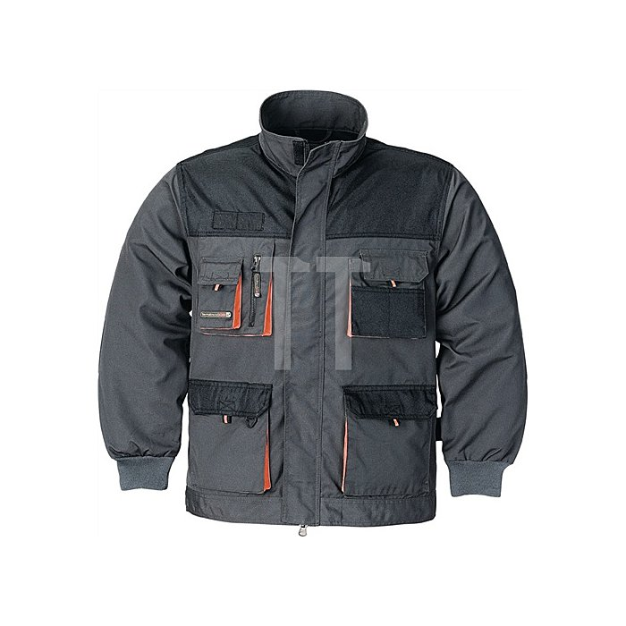 Herrenjacke Gr.50 dunkelgrau/schwarz/orange 65%PES/35%CO 270g/m2