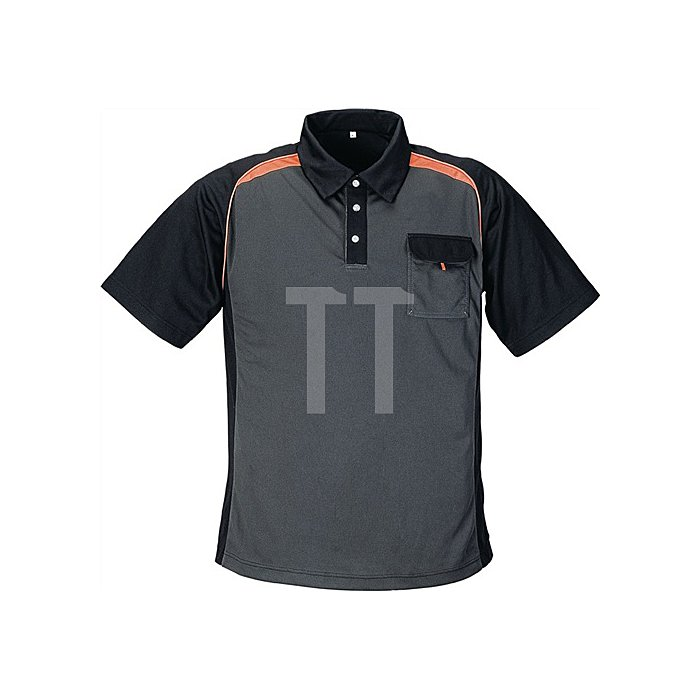 Herrenpoloshirt Gr.M dunkelgrau/schwarz/orange 50%PES/50%CoolDry