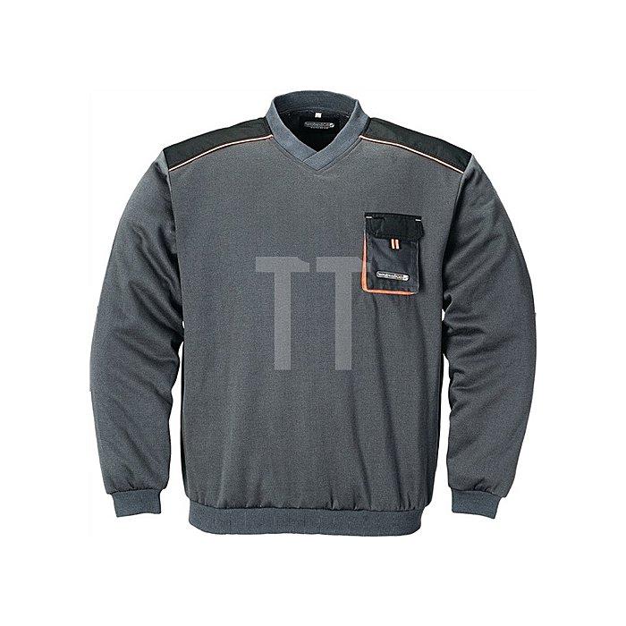 Herrenpullover Gr.XL dunkelgrau/schwarz/orange 100%CO V-Ausschnitt 320g/m2