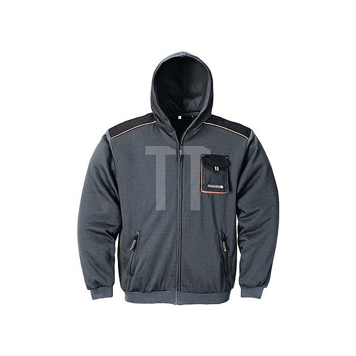 Herrensweatjacke Gr.XL dunkelgrau/schwarz/orange 100%CO m.Kapuze