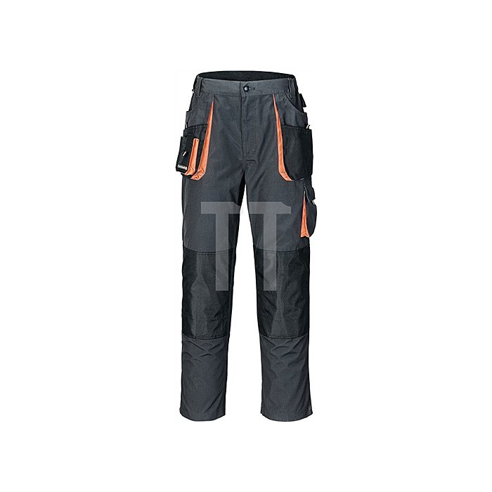 Herrrenhose Gr.54 dunkelgrau/schwarz/orange 65%PES/35%CO Zollstocktasche