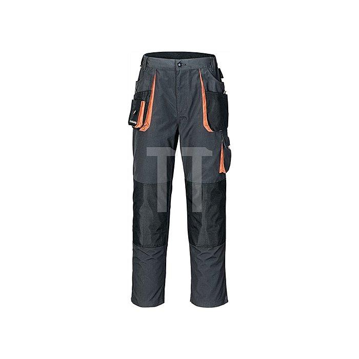 Herrrenhose Gr.60 dunkelgrau/schwarz/orange 65%PES/35%CO Zollstocktasche