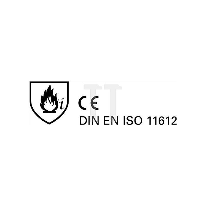 Hitzeschutzmantel DIN EN ISO 11612 Gr.58 gegen Hitze L.1200mm Jutec Aramit/Alu.