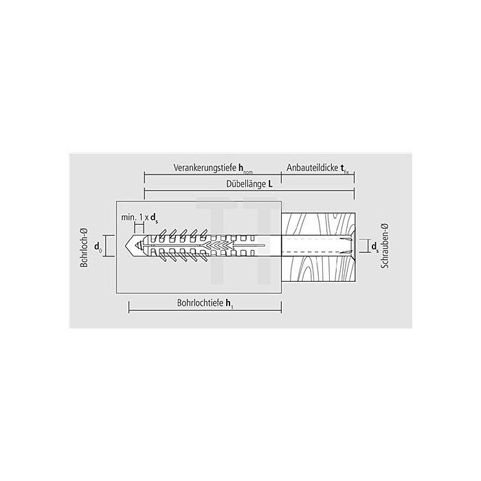 Hohlblockrahmendübel HBR 10-200 SSK m.Sechskantschr. galv. gelb vz. DIBt Zul.