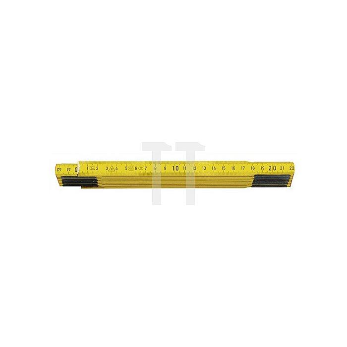 Holzgliedermaßstab L.2m gelb S.2,8mm Genauigk.III