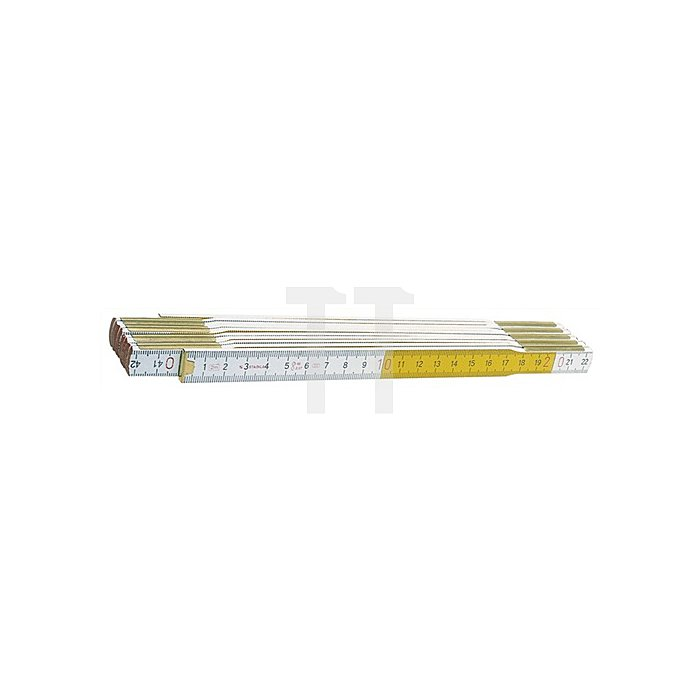 Holzgliedermaßstab L.2m weiss/gelb wetterfest STABILA Genauigk.III