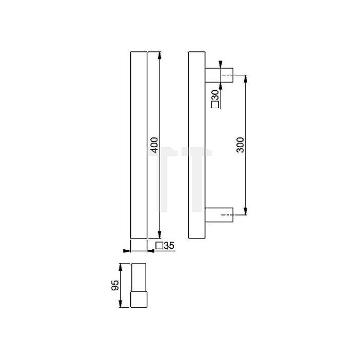 Hoppe Bügelgriff E5766 L. 400mm Stichmaß 300mm VA fein matt ger. Stützen Griff