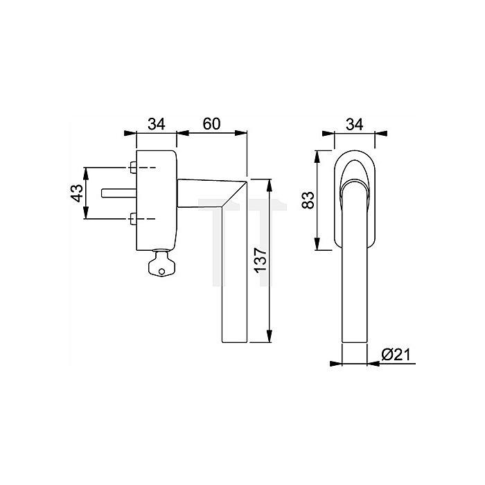 Hoppe Fenstergriff Amsterdam 1400/US950 7mm Vollstift L.40mm Alu matt F1-2 abschließb