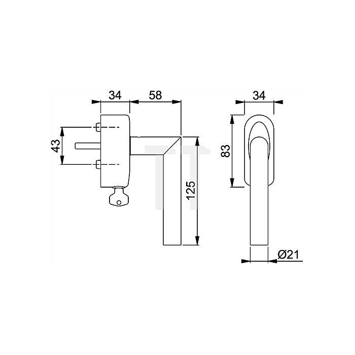 Hoppe Fenstergriff Amsterdam E1400Z/US950S 7mm Vollstift L.32mm VA matt abschließbar