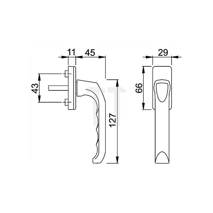 Hoppe Fenstergriff London O13/U34 Alu.F1 VK-L.32mm Ku.Rosette m.10mm Nocken