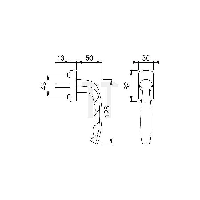Hoppe Fenstergriff New York 0810/U10 32mm vorstehend abschließbar Alu F9 Stahl VK 7mm
