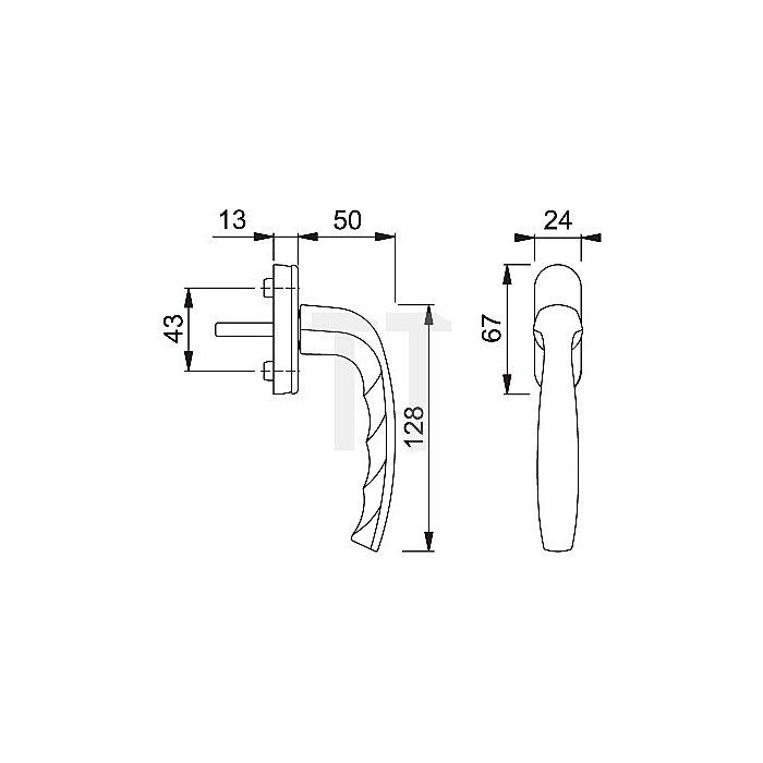 Hoppe Fenstergriff New York 0810/U76 32mm vorstehend abschließbar Alu F9 Stahl VK 7mm