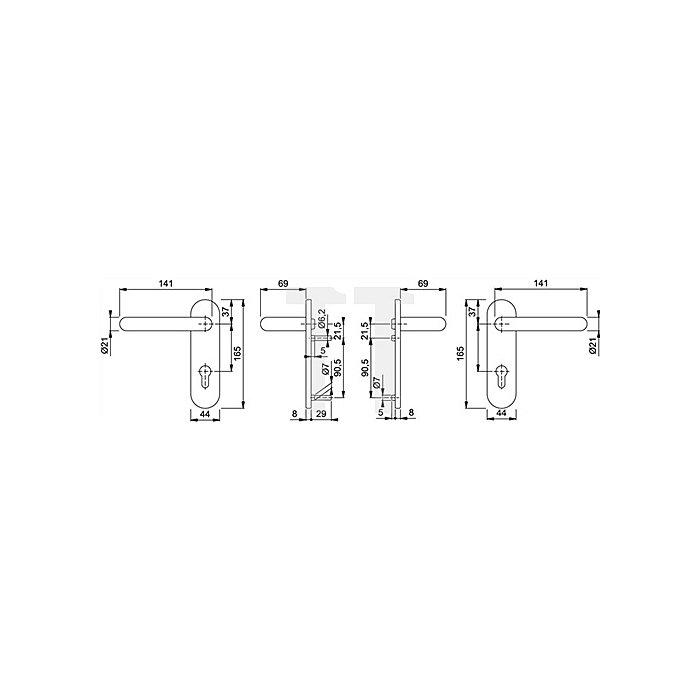Hoppe Feuerschutz-Drückergrt.Paris FS-138F/353K DIN18273 PZ Entf.72mm Oval-Kurzschild