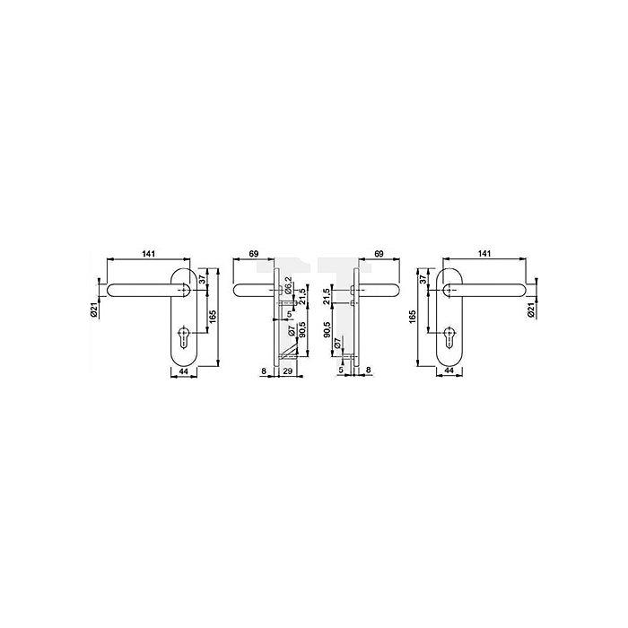 Hoppe Feuerschutz-Wechselgrt. Paris FS-E58/353K/138F Klasse 4 PZ VK 9mm Schild