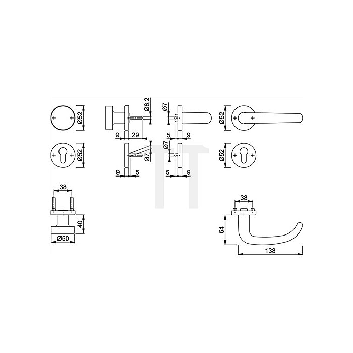 Hoppe FH-Drückergrt. San Francisco FS-E1301F/42/42S PZ VK 9mm Rosette VA F69 matt