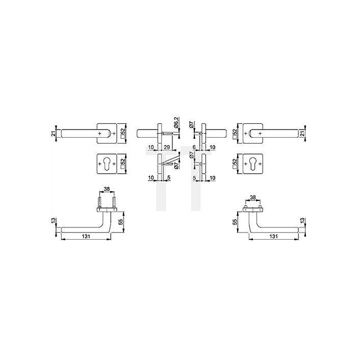 Hoppe FH-Wechselgrt. Dallas FS-E1643F/52/52S PZ VK 9mm Antipanik VA F69 TS 40-65mm