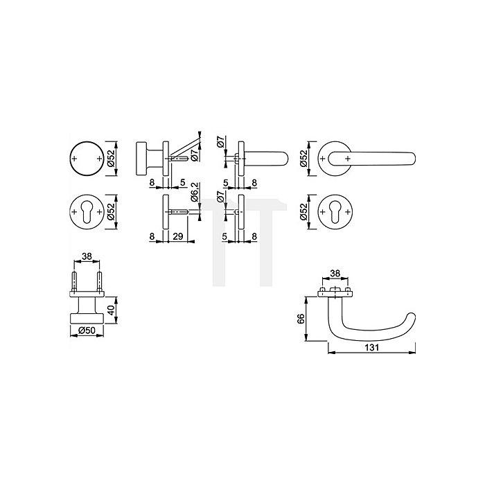 Hoppe FH-Wechselgrt. San Francisco FS-E58/42/42S/1301F PZ VK 9mm Rosette VA F69 matt