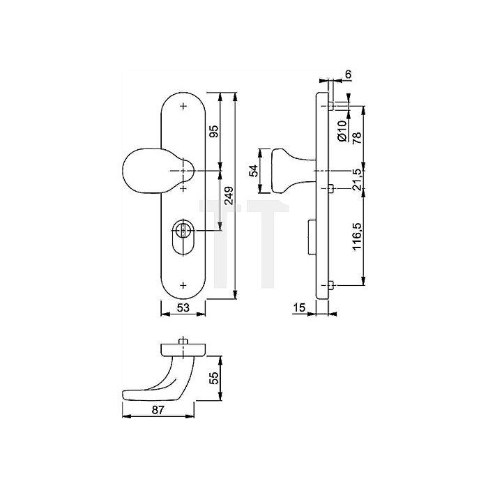 Hoppe Knopfschild E86G/3332ZA ES2 PZ Entf. 92mm VK 10mm VA F69 TS 67-72mm