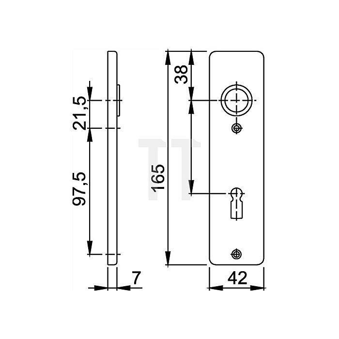 Hoppe Kurzschild 202KP/AP BB Entf. 72mm L.165mm B.42mm Alu F2 mit Anschlagplatte