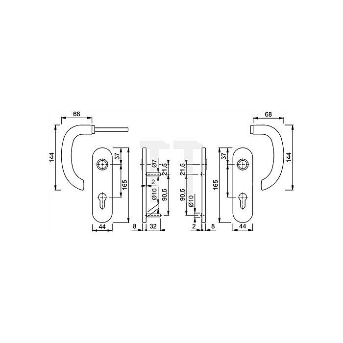 Hoppe Kurzschild-Drückergrt. Marseille E1138Z/353K DIN EN 1906 OB VK 8mm Entf. 72mm