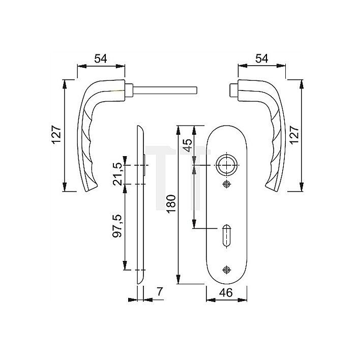 Hoppe Kurzschild-Drückergrt. New York 1810/273KP Lochung PZ Entf. 72mm Alu. F1