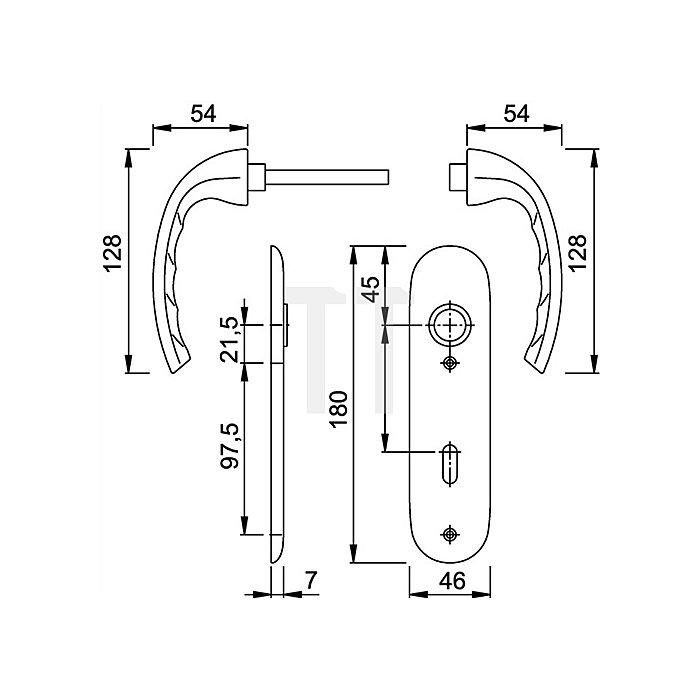 Hoppe Kurzschild-Drückergrt. Tokyo 1710/273 KP DIN EN 1906 PZ VK 8mm Entf. 72mm Alu F2